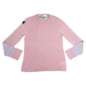 Freecity Pink Striped Sleeve Cashmere Sweater - M
